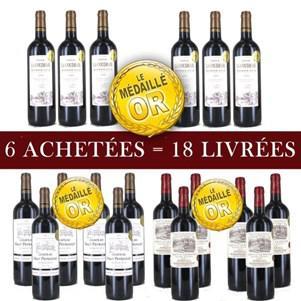 18 bouteilles de vins (6x Châteaux La Coudraie, 6x Château Le Breton Bordeaux 2014 et 6x Château Haut Peyruguet Bordeaux 2014)