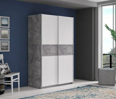 Armoire 2 portes coulissantes Ohio - 120cm, Blanc béton