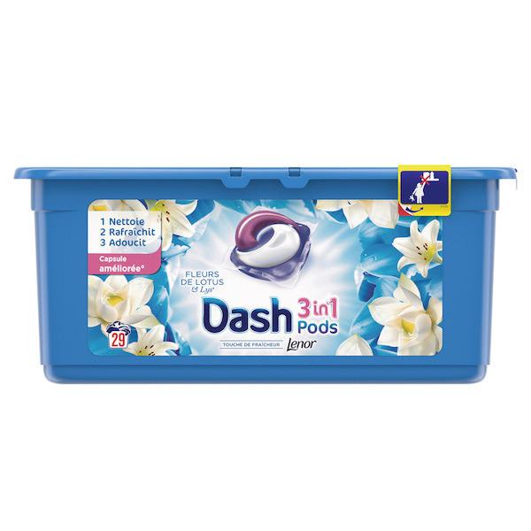Boîte de 29 Capsules de Lessive Dash Pods 3-en-1 (Via 7.88€ sur Carte de Fidélité + BDR)
