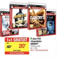 Ubisoft Essentials sur PS3 : 1 jeu acheté = 1 offert