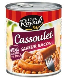 Boîte de Cassoulet Raynal Saveur Bacon ou de Saucisses Raynal aux lentilles sauce moutarde 840g