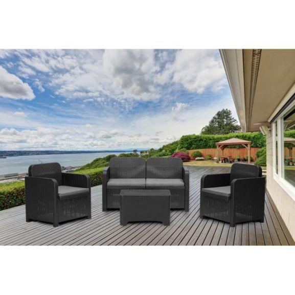 Salon bas de jardin Sorrento en résine injectée anthracite -  2 fauteuils + 1 canapé + 1 table basse