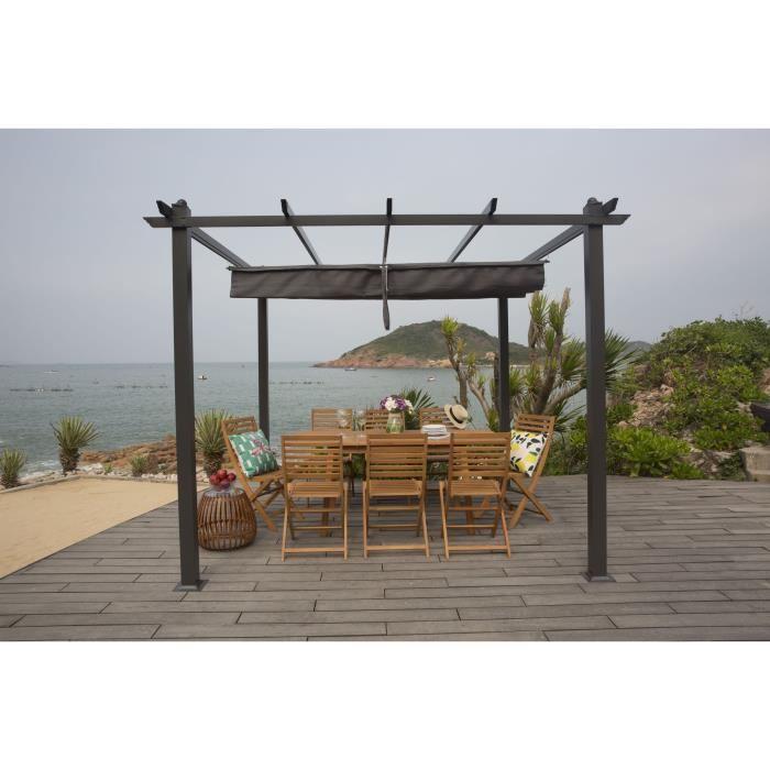 Tonnelle Kiba Pergola avec toit déroulant - toile en gris, 3 x 3 m