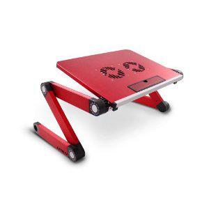 Lavolta Support Table de Lit Pliable Inclinable pour PC Ordinateur Portable avec Refroidisseur - 2x Ventilateurs - Rouge