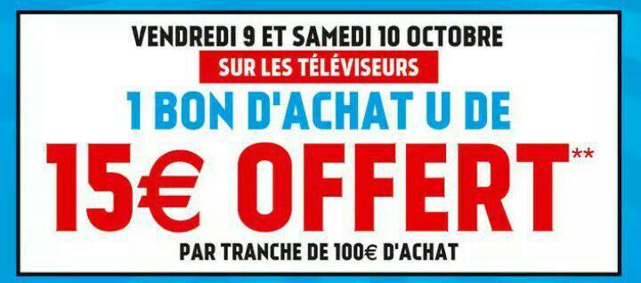 15€ en bons d'achats par tranche de 100€ sur tous les téléviseurs