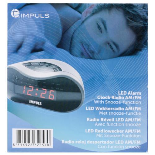 radio reveil LED - AM/FM, Snooze, Sauvegarde