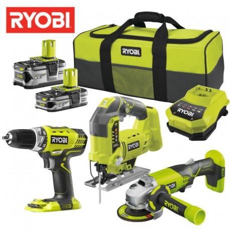 Pack 18V Ryobi ONE+ R18CK3C-LL99S Power Set - 3 Outils + 2 Batteries + Chargeur + Sac de Transport (superperfo.fr)