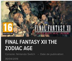 [Précommande] Final Fantasy XII : The Zodiac Age sur Nintendo Switch