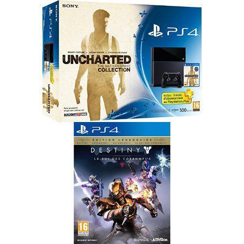 Pack Console Sony PS4 500Go + Uncharted : The Nathan Drake Collection + PS Plus 3 mois + Destiny : le roi des corrompus - édition légendaire