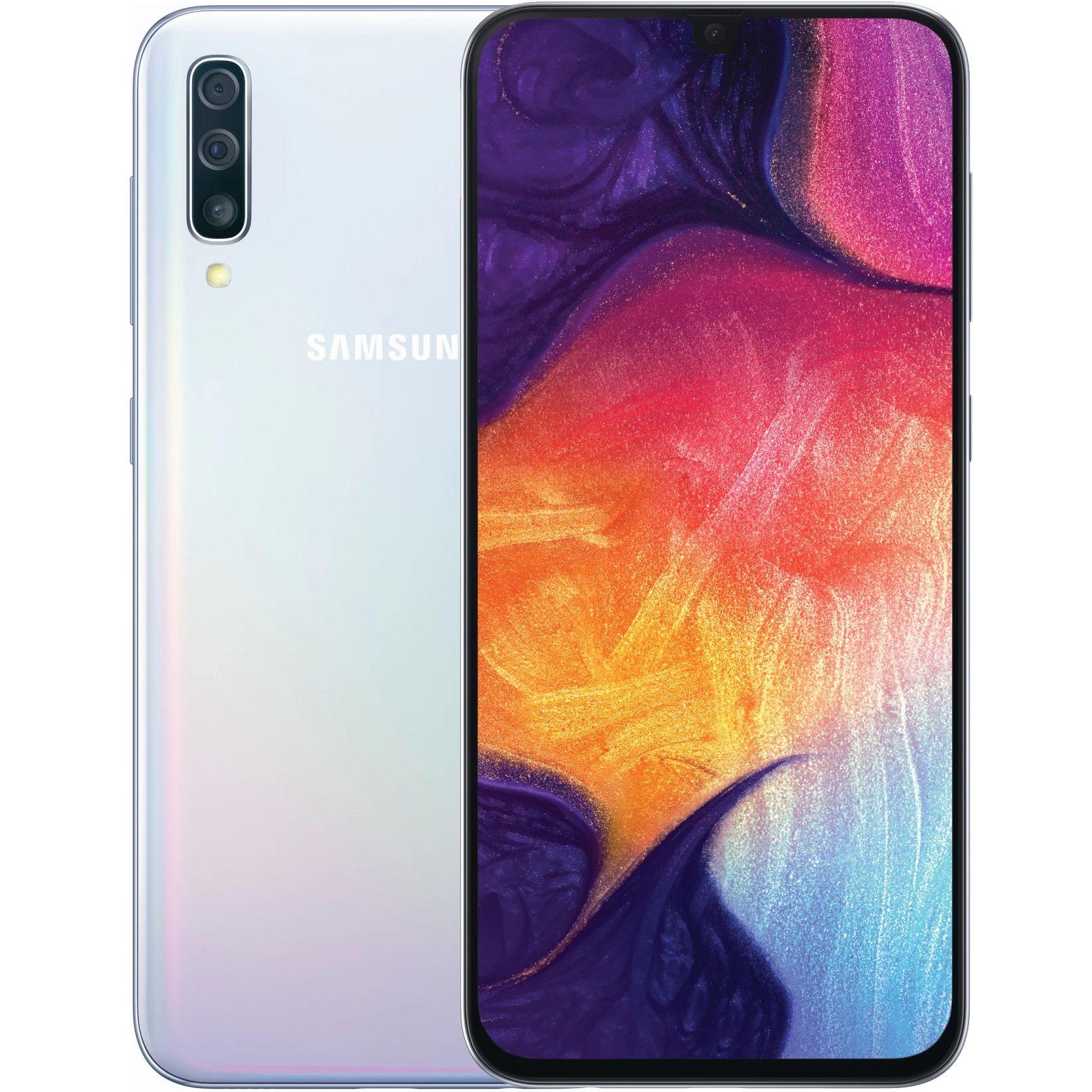 """Smartphone 6.4"""" Samsung Galaxy A50 - FullHD+, 128Go, 6Go ram, Blanc (+ 57.2€ en SuperPoints)"""