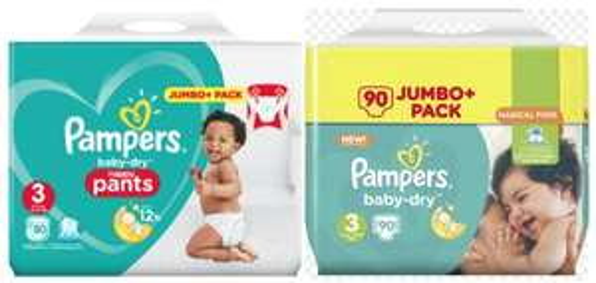 Jumbo+ Pack de Couches et Couches-culottes Pampers Baby Dry - Tailles au choix (Via Carte de Fidélité + BDR)