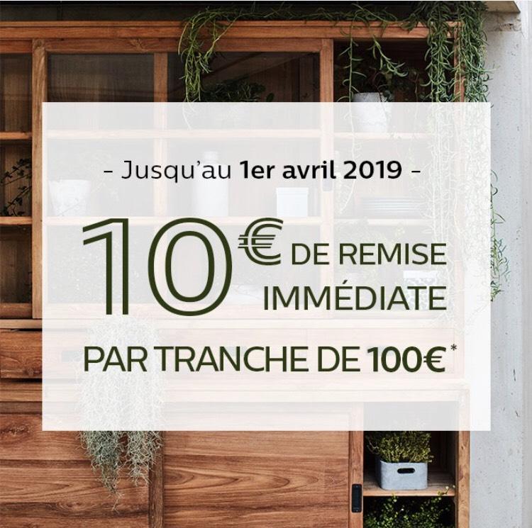 10€ de réduction tous les 100€ d'achat