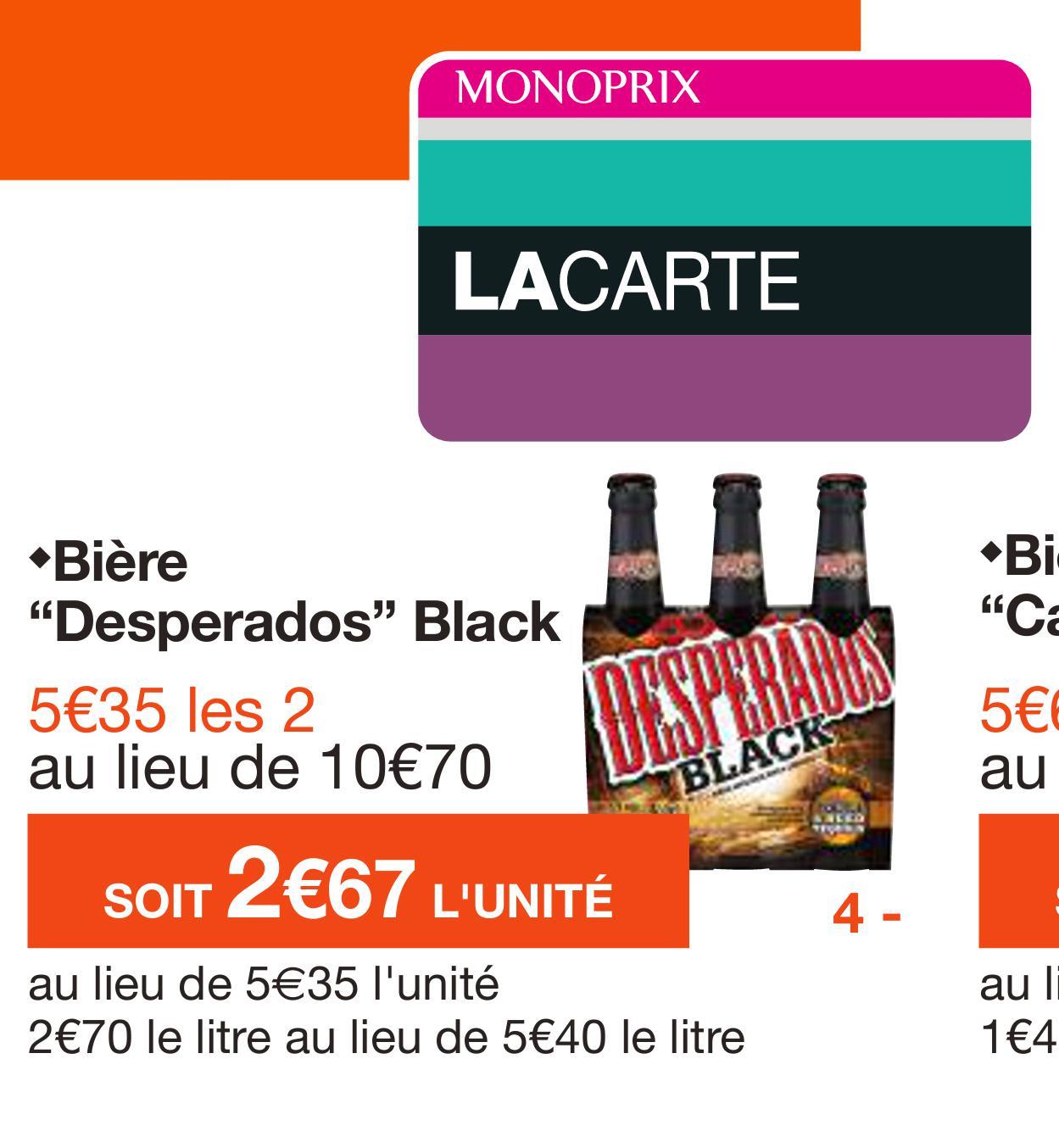 Lot de 2 packs de Desperados Black 3*33cl (via shopmium)