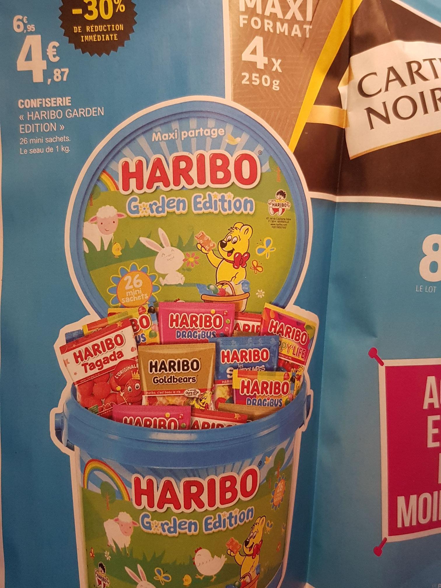 Bonbons Haribo Garden Édition - 26 Mini Sachets, Seau de 1Kg