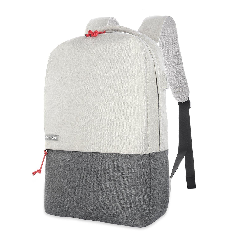 """Sac à dos pour PC portable 15.6"""" Guaiboshi - blanc / gris (vendeur tiers)"""