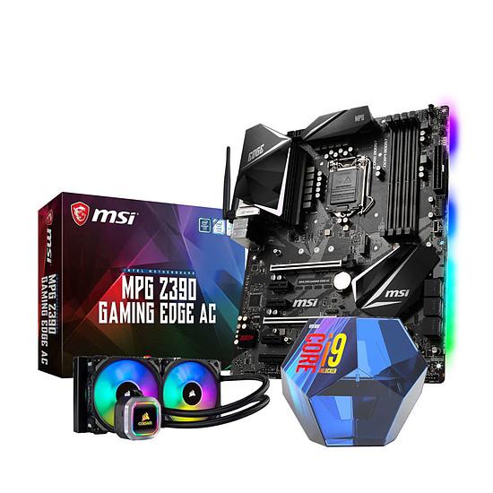Kit évolution PC : Processeur Intel Core i9-9900K + Carte mère MSI MPG Z390 Gaming Edge AC (ATX) + Watercooling Corsair H100i Platinium