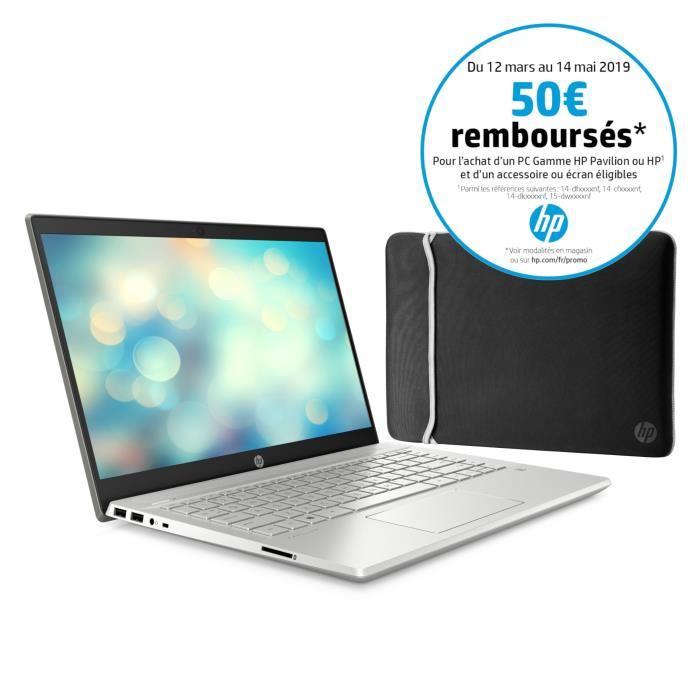 """[CDAV] PC Portable 14"""" HP Pavilion 14-ce0013nf - Full HD, i7-8550U, RAM 8 Go, SSD 256 Go + 1 To, MX 130 2 Go, W10 + Housse (via ODR de 50€)"""
