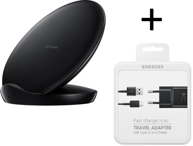 Chargeur sans fil  Fast charge Samsung Pad Stand EP-N5100TB (nouvelle version) + Chargeur secteur et câble USB-C (via ODR 30€)