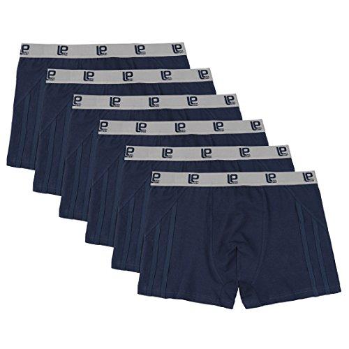 Lot de 6 Boxers Lower East (95% coton) - Bleu Marine - Tailles XL et XXL