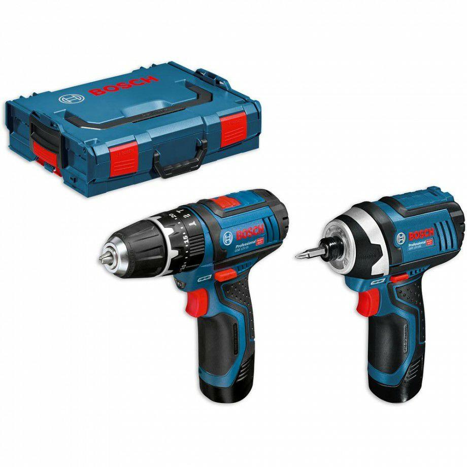 Visseuse Bosch GSB 12V-15 & Visseuse à choc GDR 12V-105 10.8V/12v + Mallette L-BOXX + Chargeur +2 Batterie 2.0Ah (axminster.co.uk)