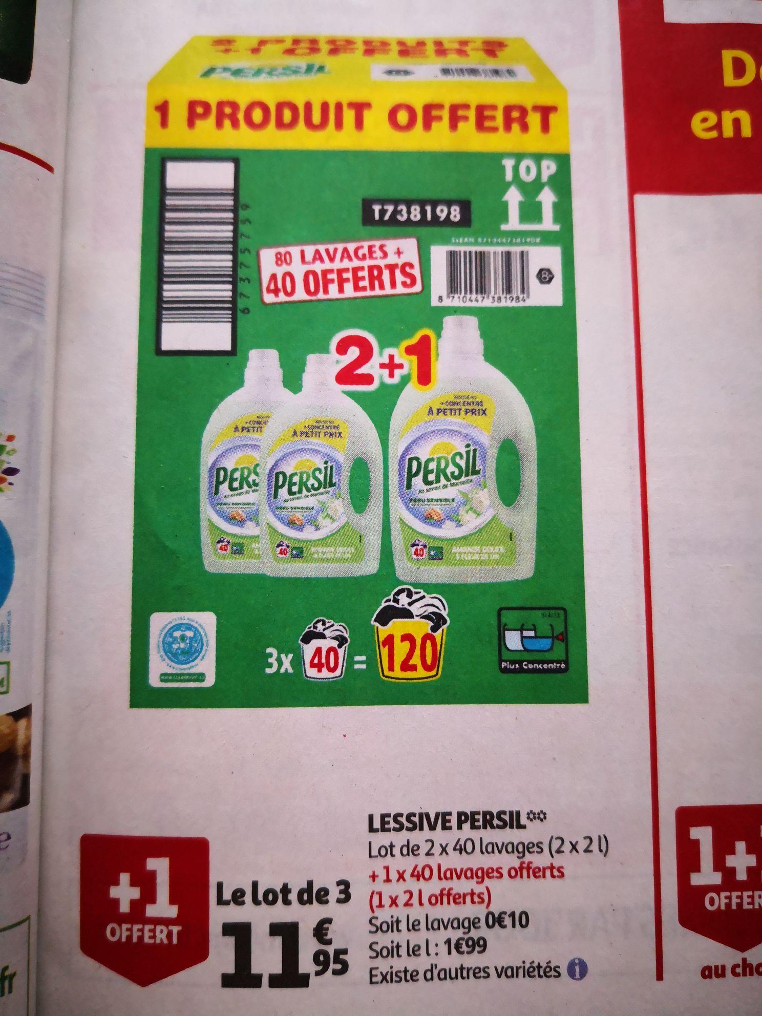 Lot de 3 bidons de lessive liquide Persil - 3 x 2 litres (Plusieurs variétés)