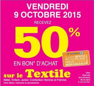50% de réduction en bon d'achat pour l'achat de textiles (hors bllanc, mercerie et accessoires)