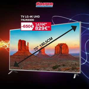 "[Carte CostCo] TV 75"" LG 75UK6500PLA (4K UHD, LED, Smart TV) - Villebon-sur-Yvette (91)"