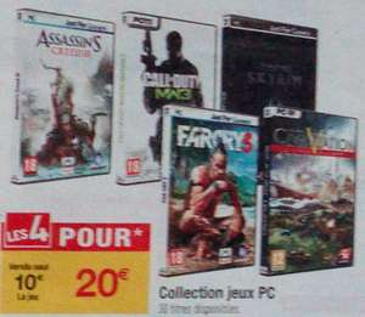 4 jeux PC au choix sur une sélection de 30 jeux