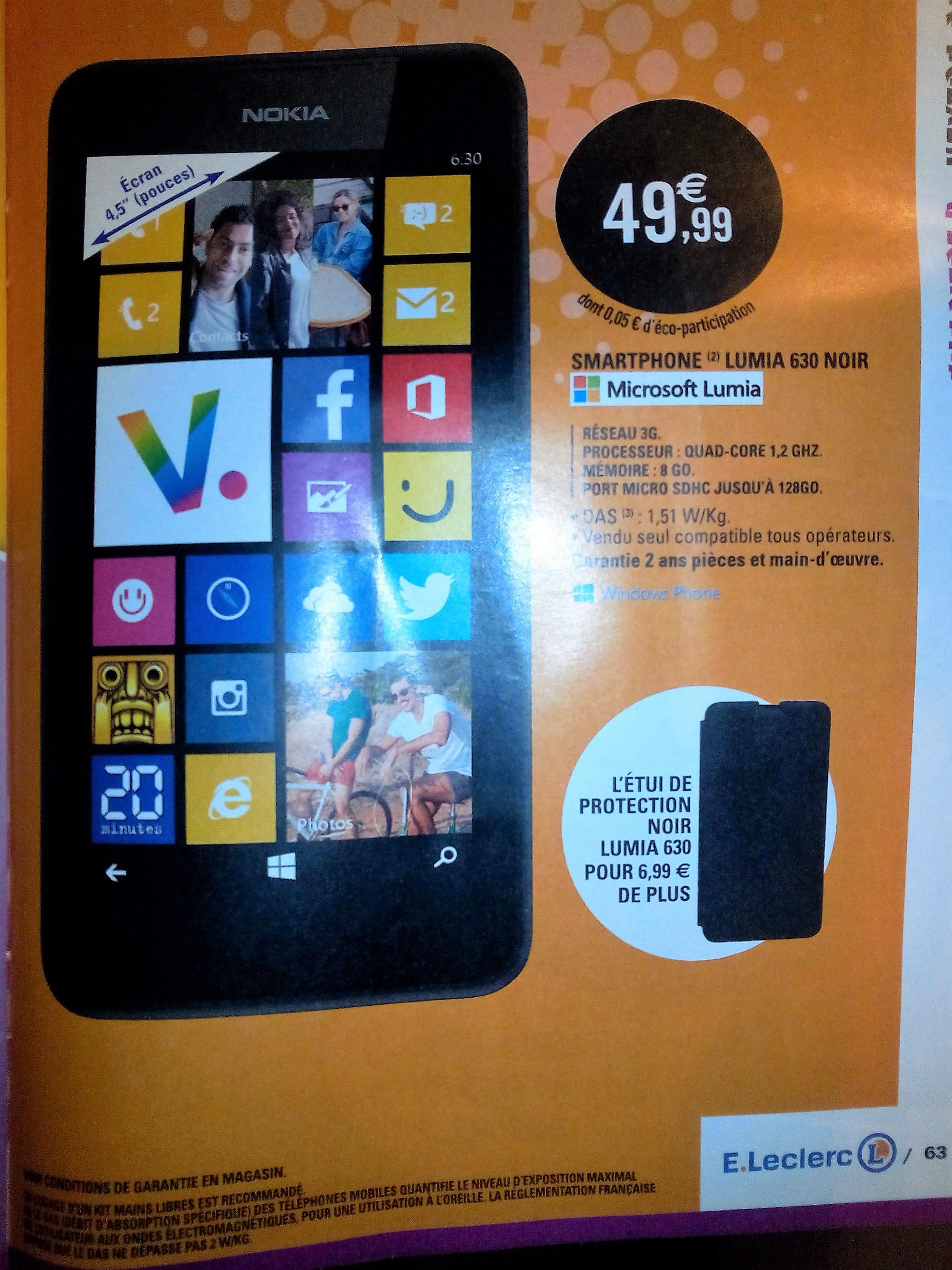 """Smartphone 4.5"""" Nokia Lumia 630 8Go Noir"""