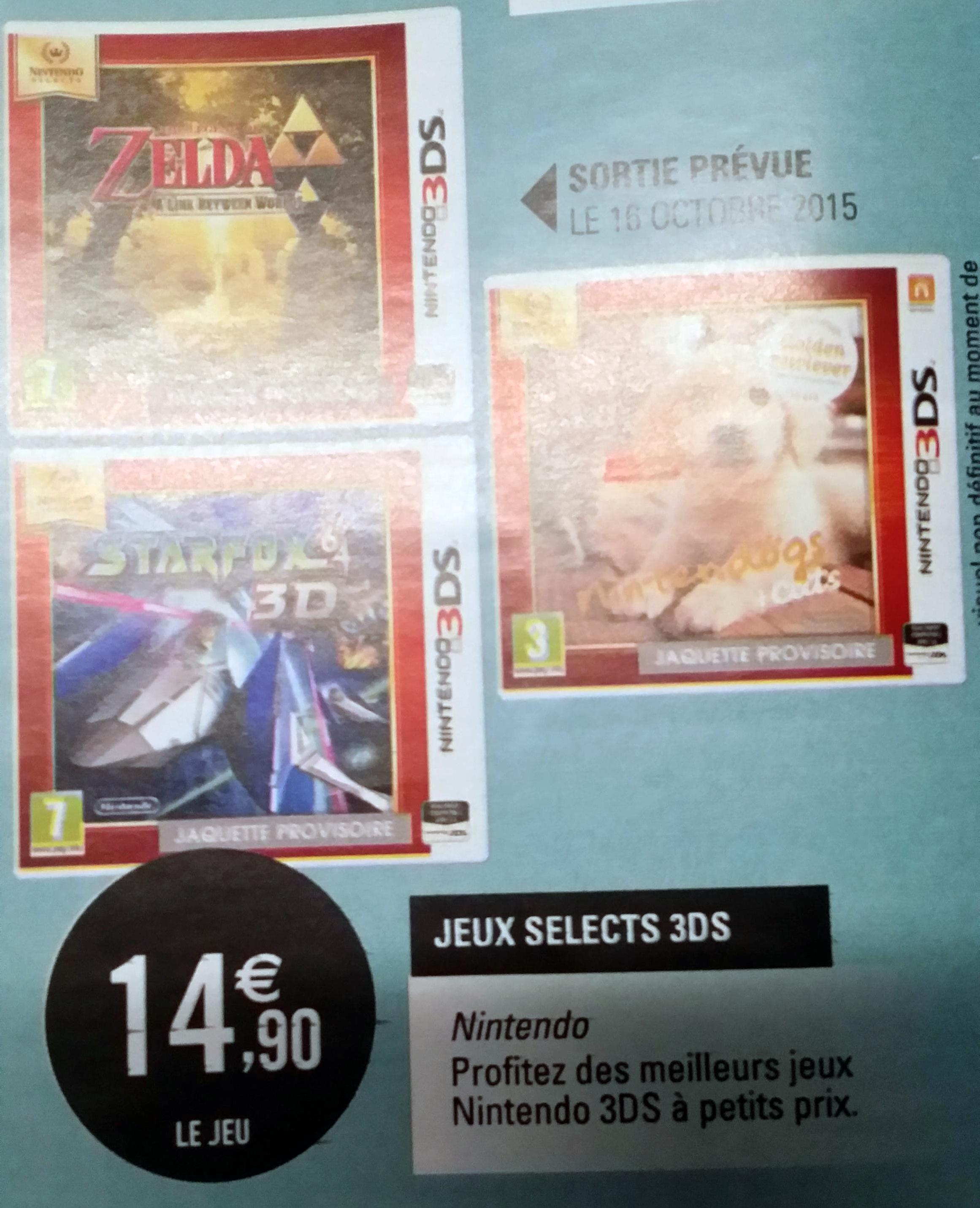 Sélection de Jeux 3DS Select (The Legend of Zelda : A Link Between Worlds, Starfox, Nintendogs...)