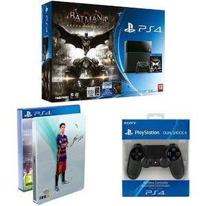 Pack Console Sony Playstation PS4 500 Go + Batman Arkham Knight + FIFA 16 steelbook + deuxième manette