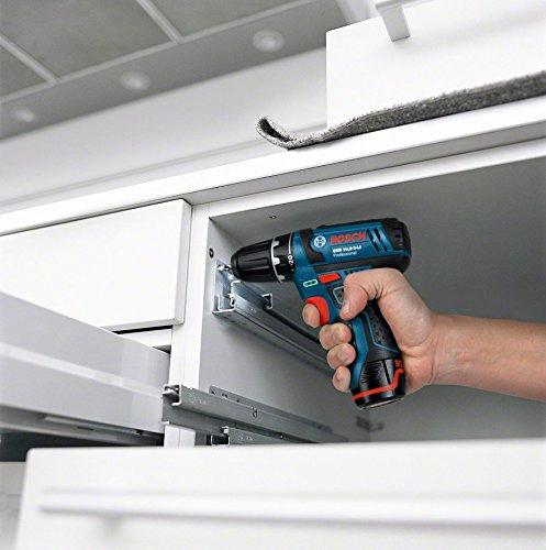 Perceuse visseuse Bosch Professional GSR12V-15, Batterie 2ah + 4ah avec forets metal+bois+ boite d'embouts et housse de rangements