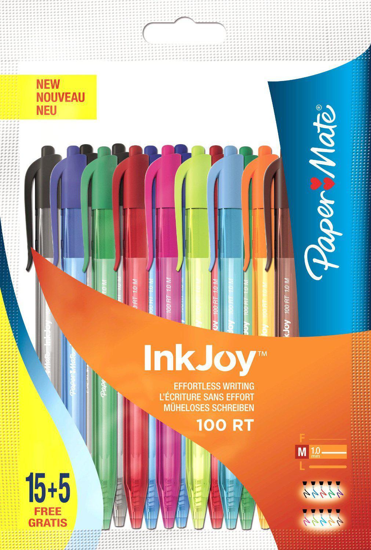 [PANIER PLUS] Lot de 20 stylos bille rétractables Paper Mate Inkjoy -  Pointe Moyenne