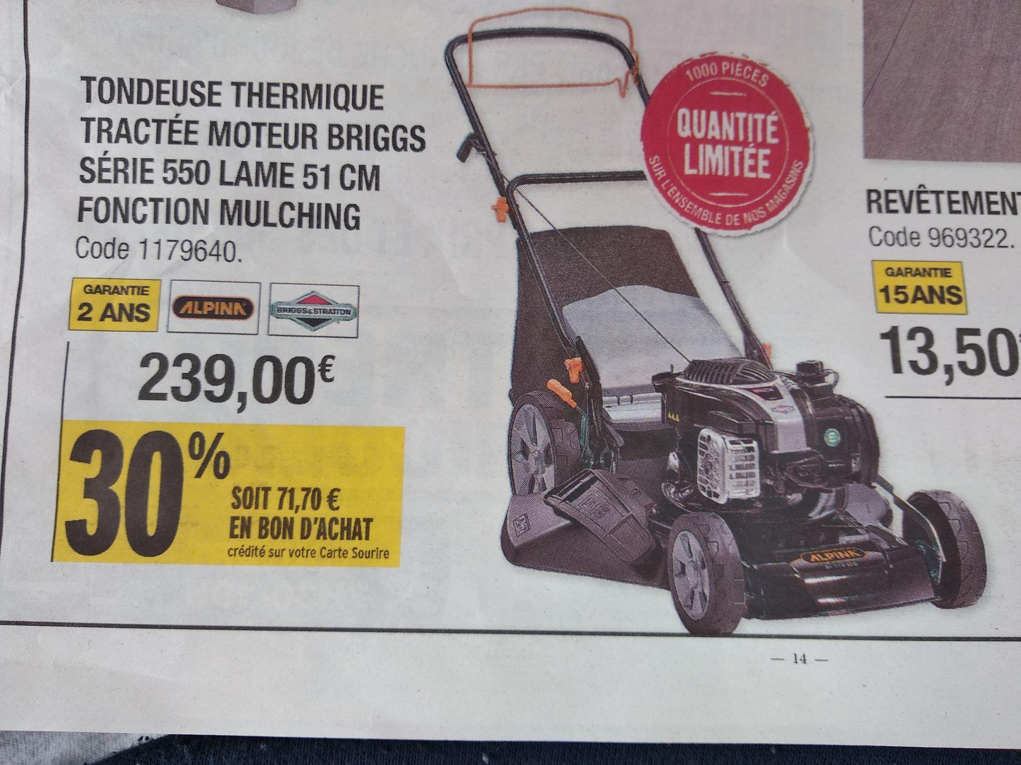 Tondeuse thermique autotractée Briggs&Stratton (via 71.70€ en BA) - L'Entrepôt du Bricolage (Pontarlier - 25)