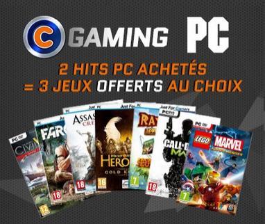2 jeux PC achetés = 3 jeux offerts au choix - Ex : Far Cry 3 + Dishonored + Borderlands 2 + Rayman Legends + Goat Simulator