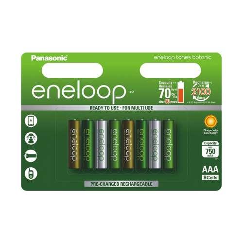 Pack de 8 piles AAA rechargeables Panasonic Eneloop (série Botanic ou Expedition)