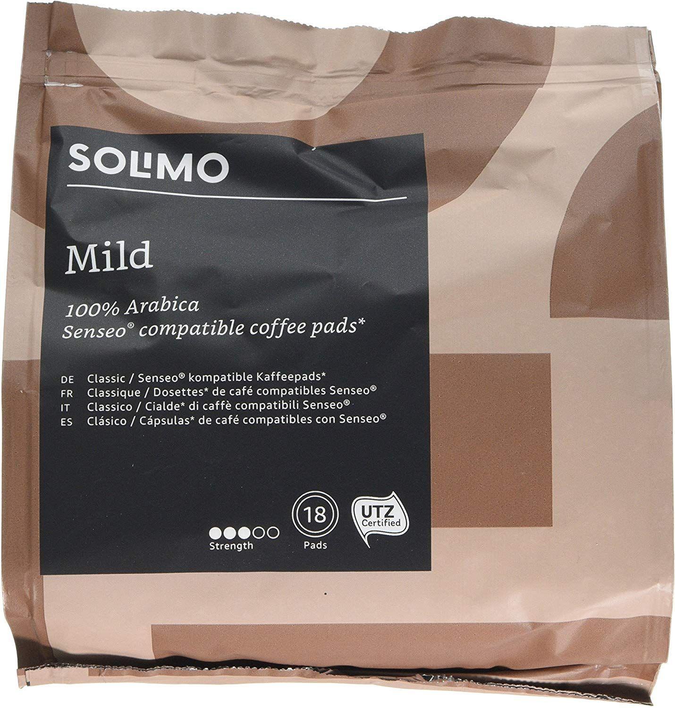 [Panier Plus] Lot de 5 Paquets de Dosettes Solimo Mild compatibles Cafetières Senseo - 5 x 18