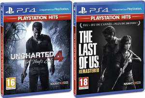 2 Jeux Playstation Hits pour 30€ - Ex : Uncharted 4 A Thief's End + The Last of Us Remastered