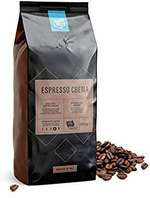"""Lot de 2 paquets de café torréfié en grains Happy Belly """"Espresso Crema"""" - 2 x 500 g"""