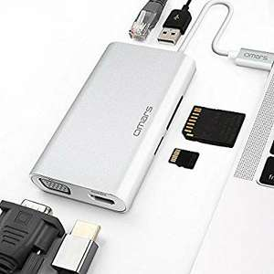 Hub USB-C Omars  vers USB 3.0, HDMI 4K, VGA 1080P, RJ45 Gigabit LAN, Lecteur de Carte SD & Micro SD (vendeur tiers)