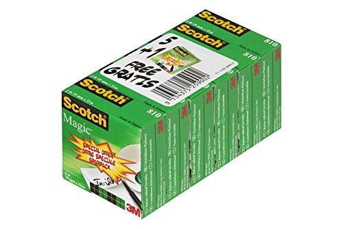 Lot de 6 Rouleaux Scotch Ruban Invisible Magic 810 - 19 mm x 33 m