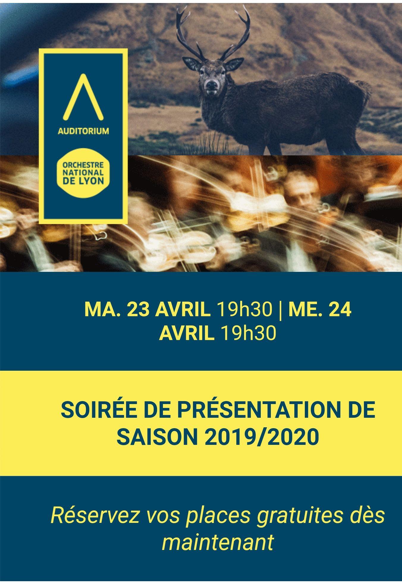 Présentation de Saison 2019/2020 à l'Auditorium de Lyon (69)
