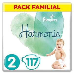 Pack Familial Couches Pampers Harmonie - Taille 2 (4-8 kg) - (117 couches)