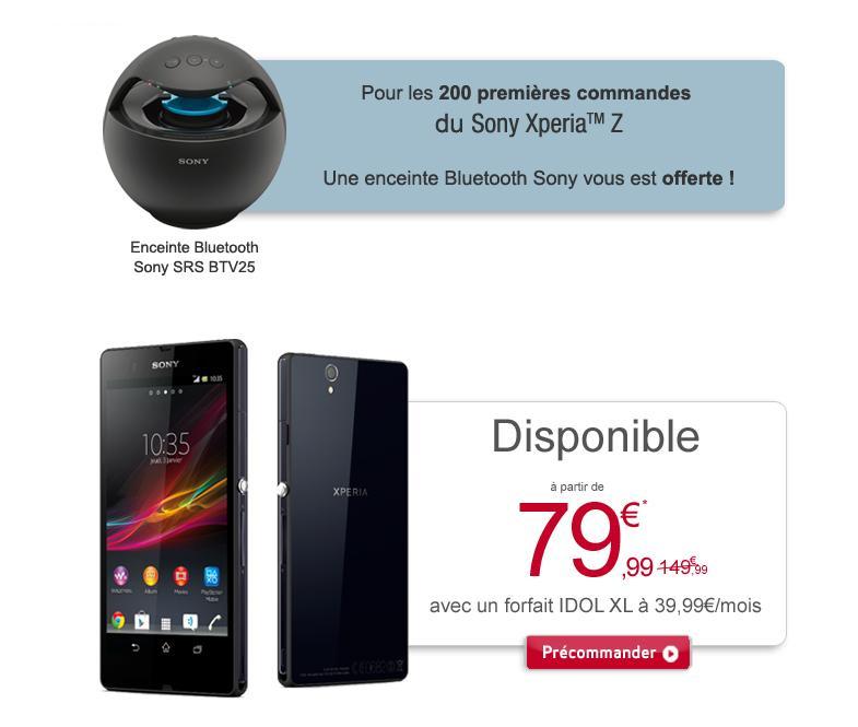 Pré-commande : Smartphone Sony Xperia Z + Enceinte Bluetooth Sony SRS BTV25 (Aux 200 premiers acheteurs), Avec ODR (70€)