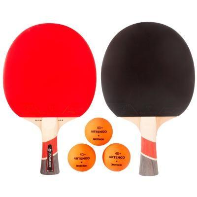 Lot de 2 Raquettes de Tennis de Table Artengo  FR 530 + 3 Balles FB 830+