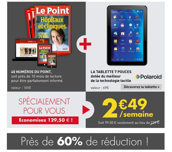 """Abonnement 40 Numéros Le Point + Tablette Polaroid 7"""" offerte"""