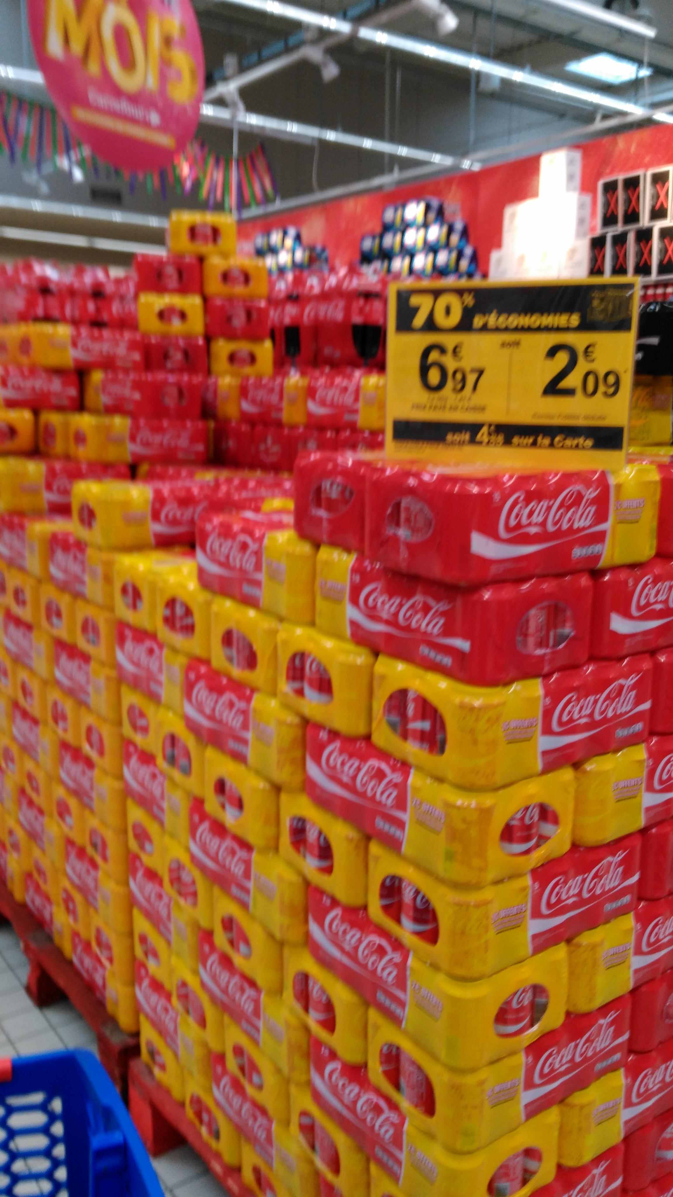 Pack de 15 canettes 33 cl de Coca-Cola (70% sur la carte)