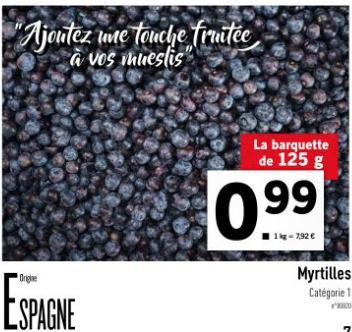 Barquette  Myrtille - 125g (Origine Espagne)