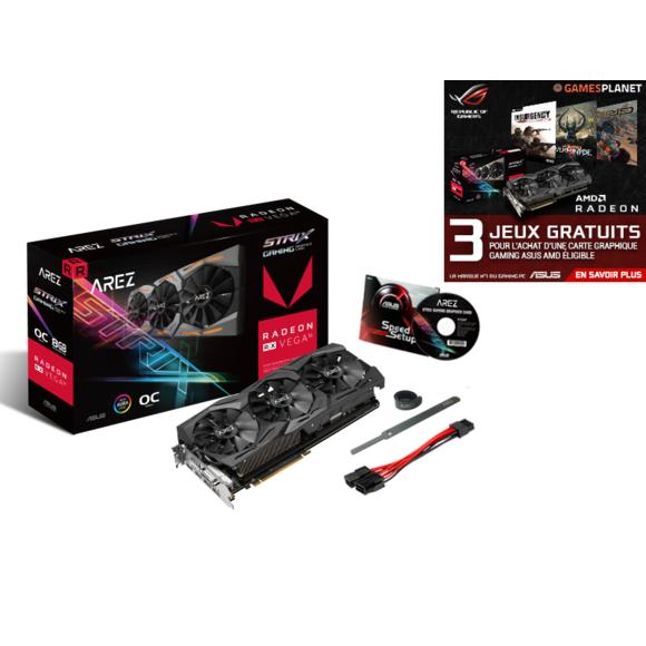 Carte Graphique Asus Radeon RX VEGA 56 AREZ Strix OC - 8 Go + 3 Jeux offerts