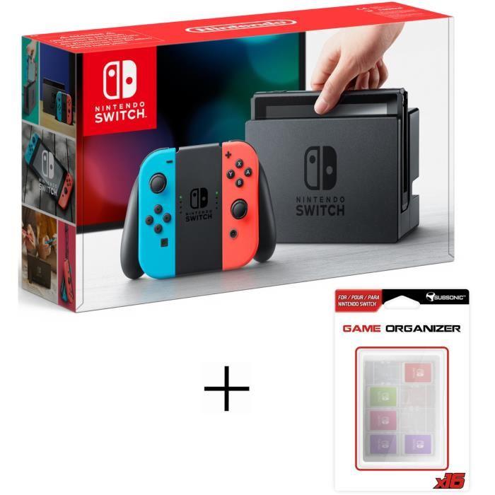 [Cdiscount à volonté] Console Nintendo Switch avec paire de Joy-Con (Rouge/Bleu néon ou Gris) + Boitier de rangement pour 16 jeux